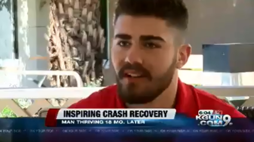 """TV Broadcast screenshot of a man with the words """"Inspiring Crash Recovery"""""""