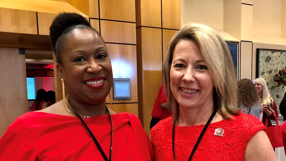 Dawn Rock and Barb Jacobsmeyer at the Birmingham, AL Go Red Luncheon