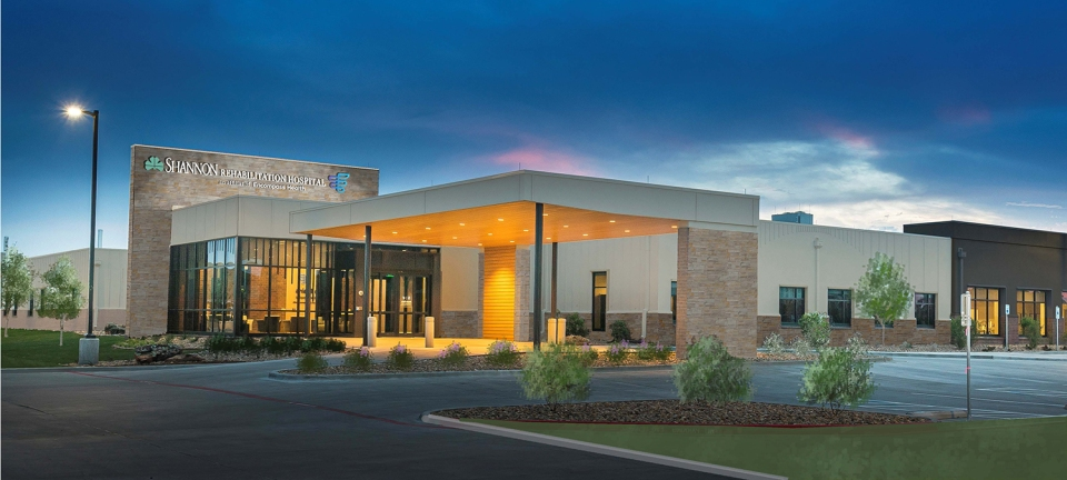 Rendering of Encompass Health and Shannon Health inpatient rehabilitation hospitals