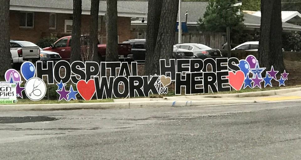 Healthcare Heroes work here display in Richmond, Va.