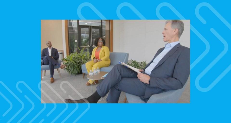 Encompass Health President and CEO Mark Tarr talks with Company leaders