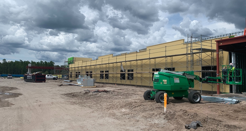 Construction site of Encompass Health rehabilitation hospital in North Tampa, Florida