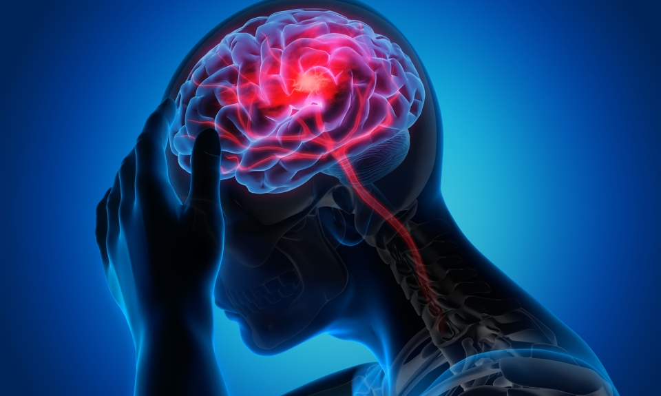 Illustration that shows person grabbing head with red spot in brain