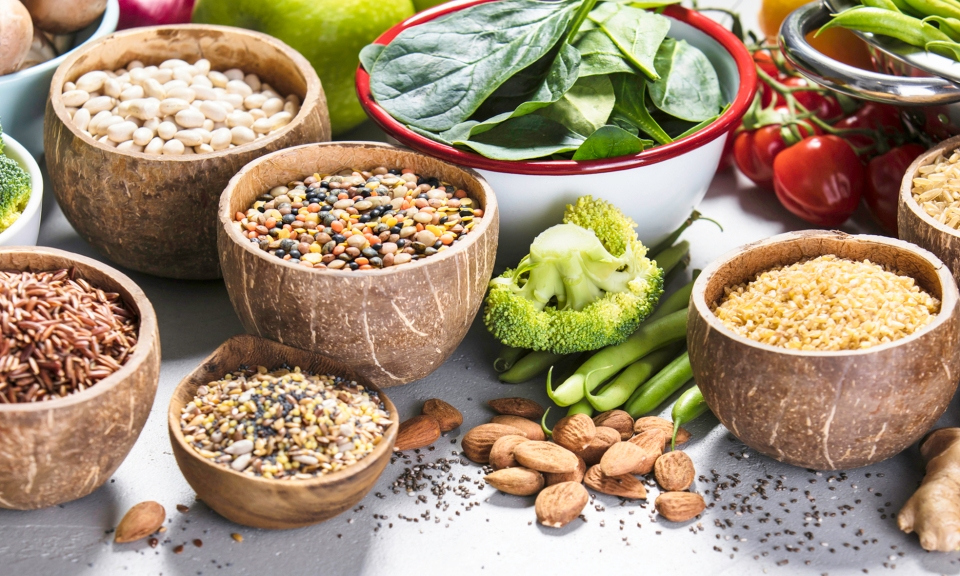 a spread of foods to eat to manage high blood pressure