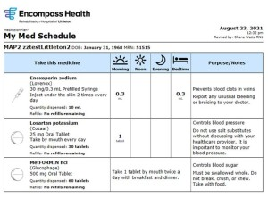 MedActionPlan schedules are formatted for easy comprehension.